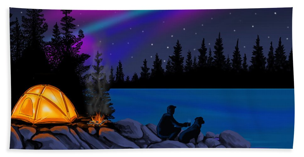 Northern Lights Bath Sheet featuring the digital art Camping With Dog by Andrew Ellis