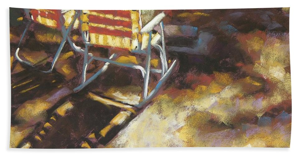 Camping Hand Towel featuring the painting Camp Rocker by Mary McInnis