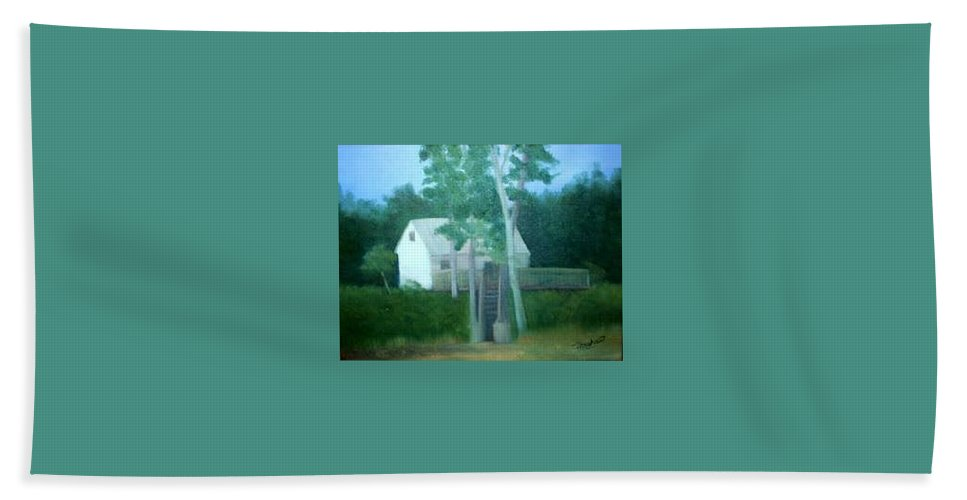 Trees Bath Towel featuring the painting Camp by Sheila Mashaw
