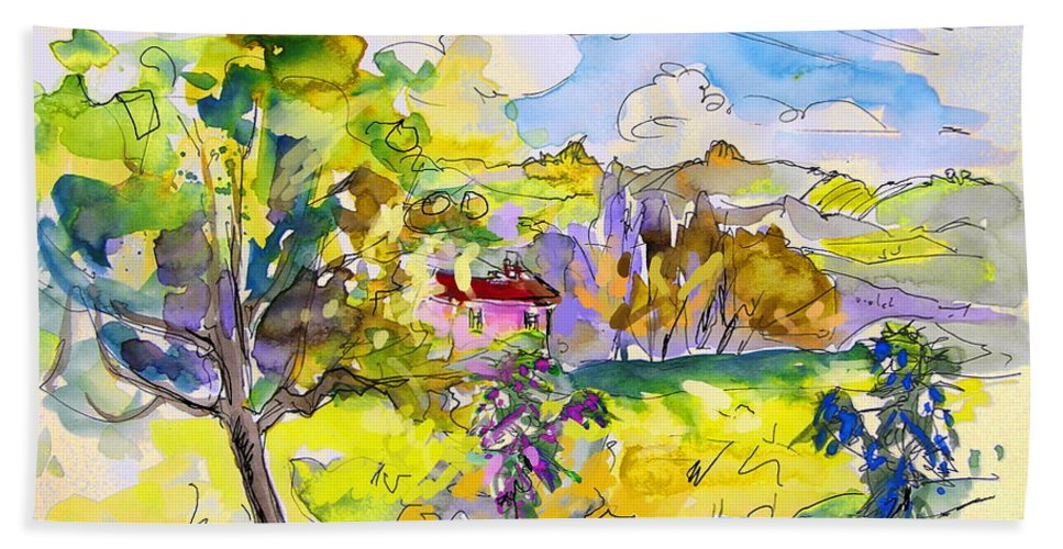 Pyrenees Bath Sheet featuring the painting Campagne Des Pyrenees by Miki De Goodaboom