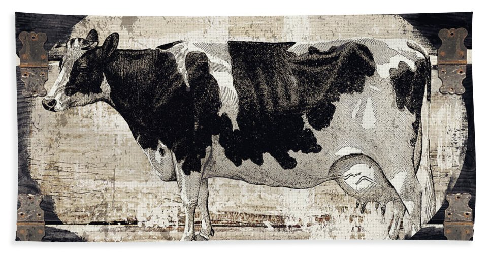 Cow Hand Towel featuring the painting Campagne I French Cow Farm by Mindy Sommers