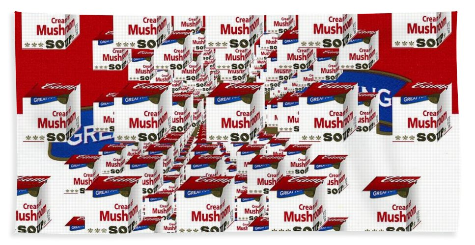 Pop Art Hand Towel featuring the photograph Campbells Mushroom Soup Squared by Donald Stevenson