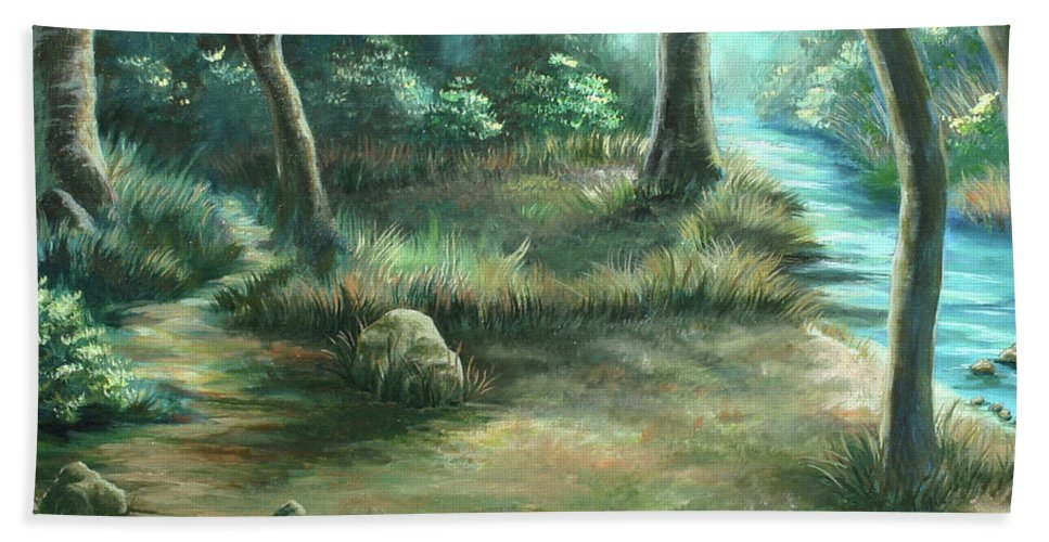 Landscape Bath Towel featuring the painting Camping At Figueroa Mountains by Jennifer McDuffie