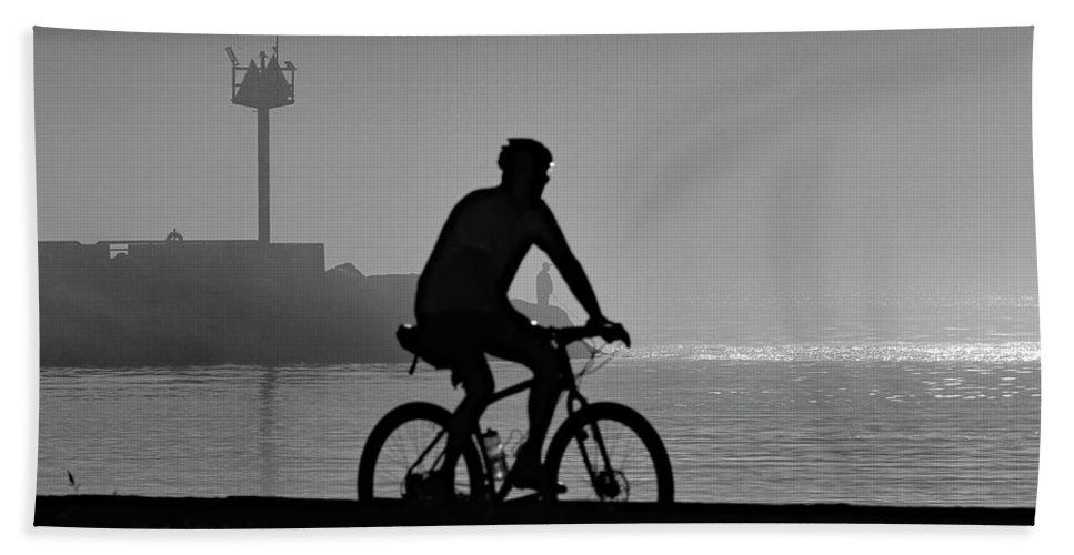 Fishing Hand Towel featuring the photograph Can You Find The Man Fishing by Steve Bell