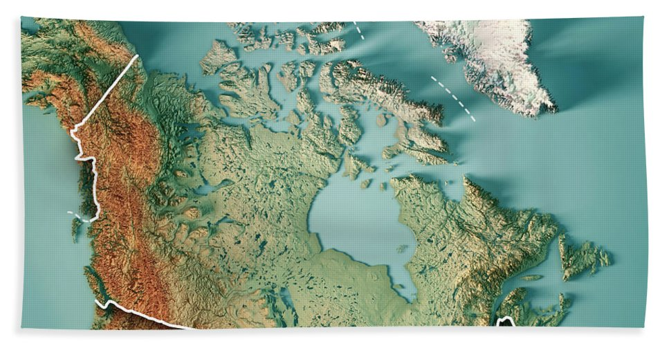Canada 3d Render Topographic Map Border Bath Towel on canada mapquest, canadian province map, canada blank map, glaciers in canada on map, canada line map, blank topographic map, canada crop map, canada true map, lakes in canada map, canada map map, canada terrain map, canada wetlands map, canada road map, canada plan map, search map, canada city map, canada satellite map, canada elevation map, canada water map, canada world map,