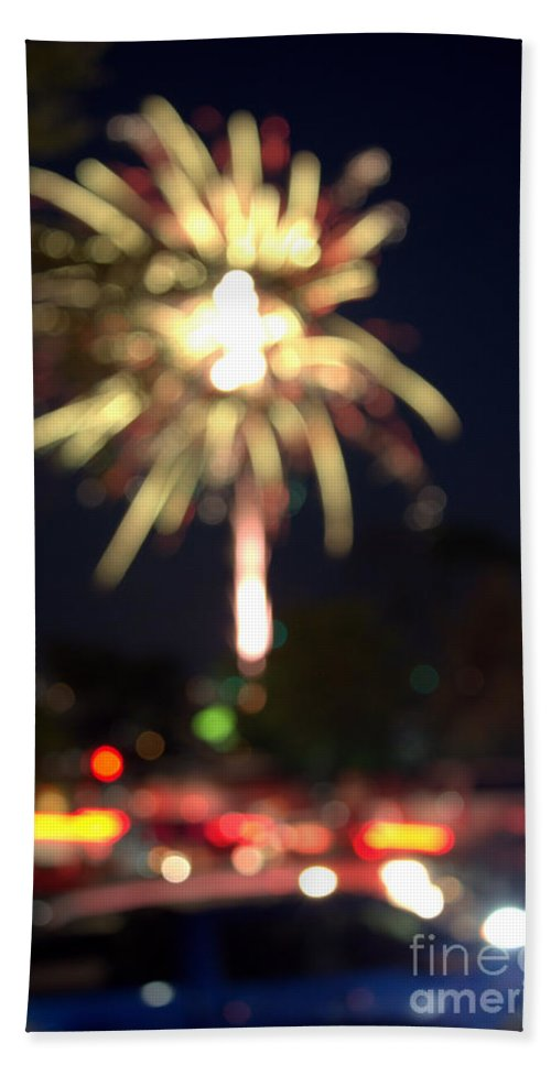 Grand Bend Hand Towel featuring the photograph Canada Day 150 Lights 4 by John Scatcherd