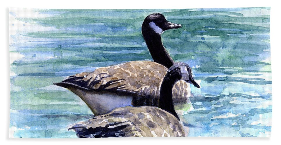 Canada Hand Towel featuring the painting Canada Geese by John D Benson