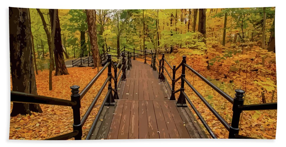 Golden Leaves Hand Towel featuring the mixed media Canadian Autumnal Walkway by Clive Littin