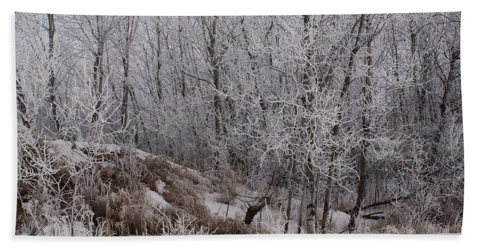 Canadian Ice Fog Bath Sheet featuring the photograph Canadian Ice Fog by Joanne Smoley