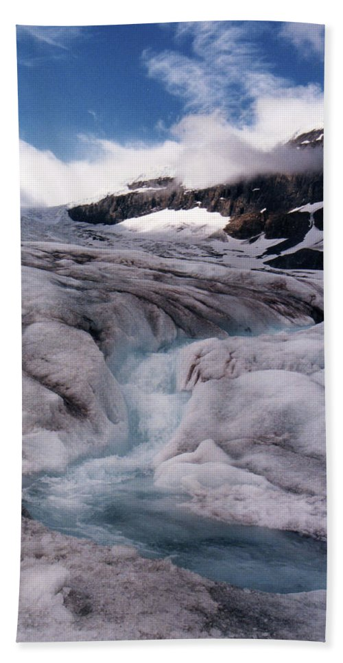 Landscape Hand Towel featuring the photograph Canadian Rockies Glacier by Stan Roban