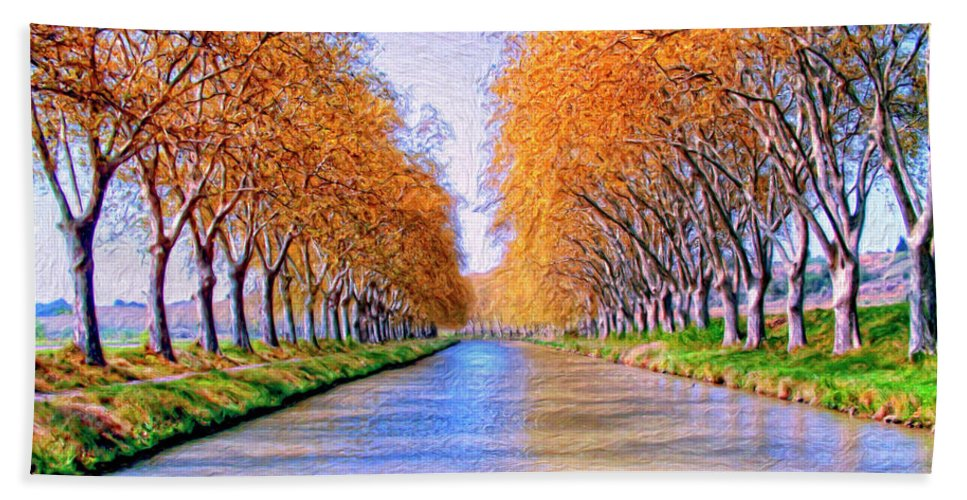 Canal Hand Towel featuring the painting Canal Du Midi by Dominic Piperata