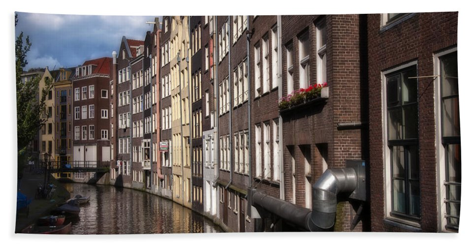 Amstel Hand Towel featuring the photograph Canal Houses by Joan Carroll