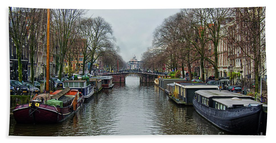 Amsterdam Bath Sheet featuring the photograph Canal In Amsterdam by Spade Photo