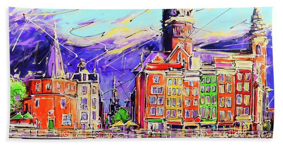 Amsterdam Hand Towel featuring the painting Canal Of Amsterdam, Storm Is Comming by Mathias