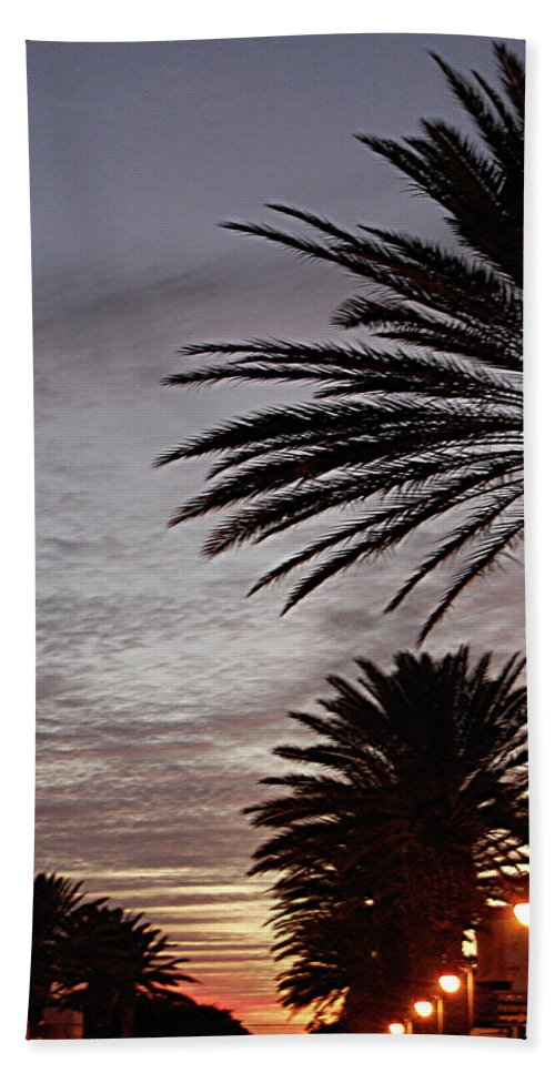 New Smyrna Beach Hand Towel featuring the photograph Canal Street At Dusk by DigiArt Diaries by Vicky B Fuller
