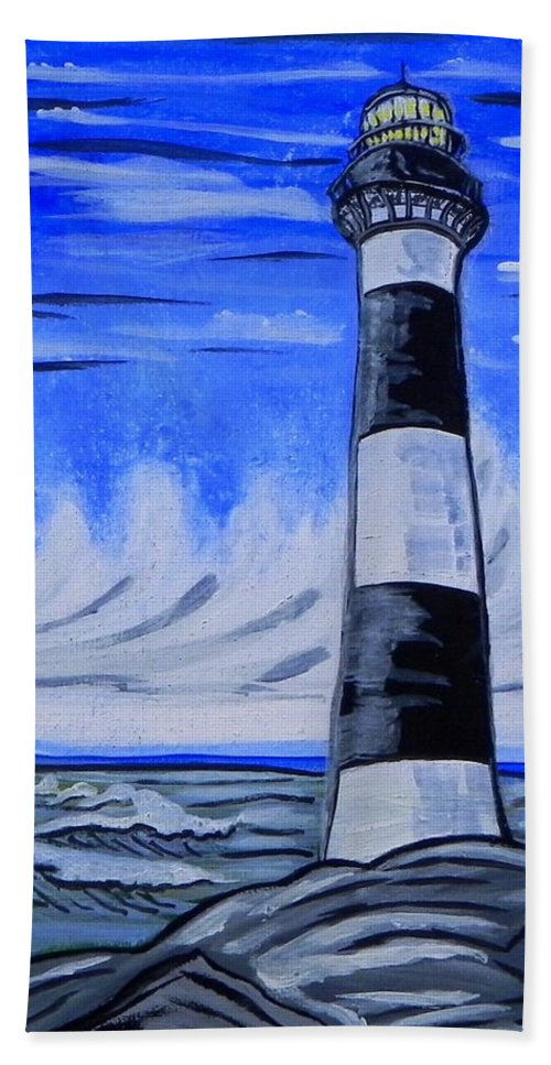Lighthouse Bath Sheet featuring the painting Canaveral Lighthouse by W Gilroy