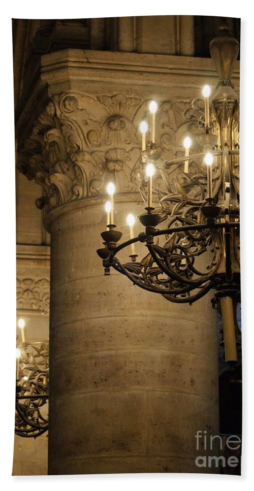 Candelabra Hand Towel featuring the photograph Candelabra At Notre Dame by Christine Jepsen