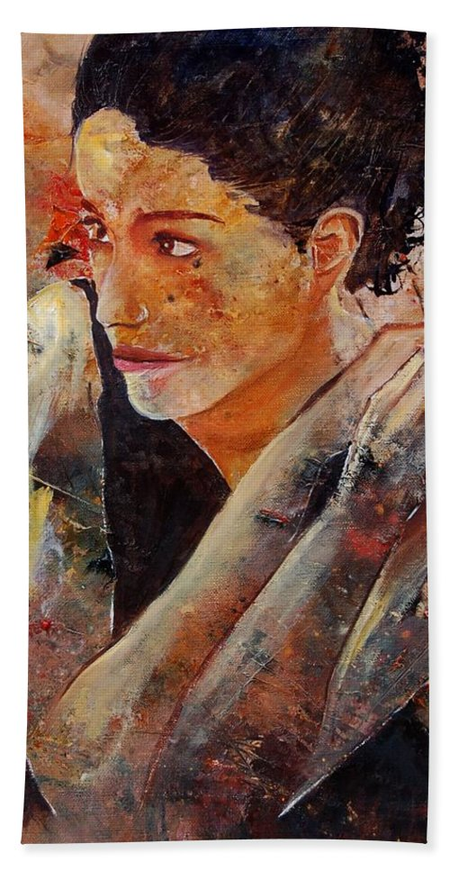 Figurative Bath Towel featuring the painting Candid Eyes by Pol Ledent