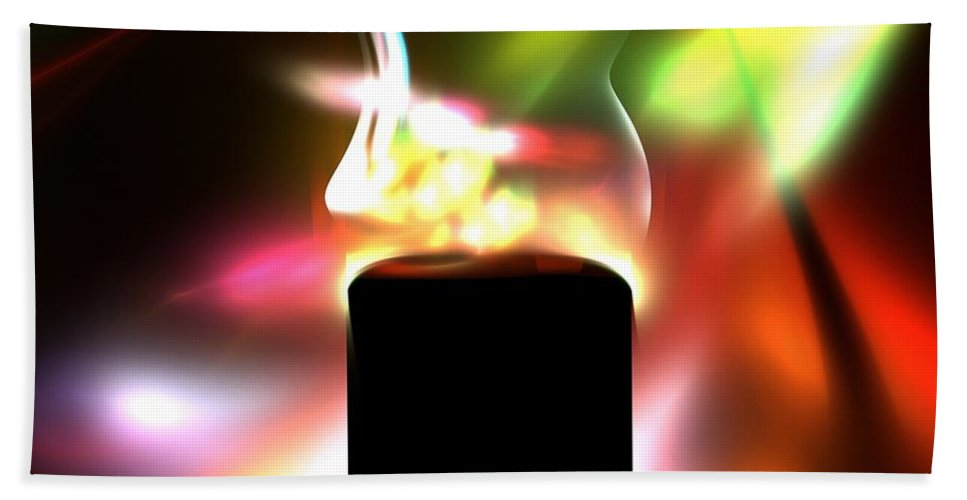 Candle Hand Towel featuring the painting Candle And Colors by Steve K