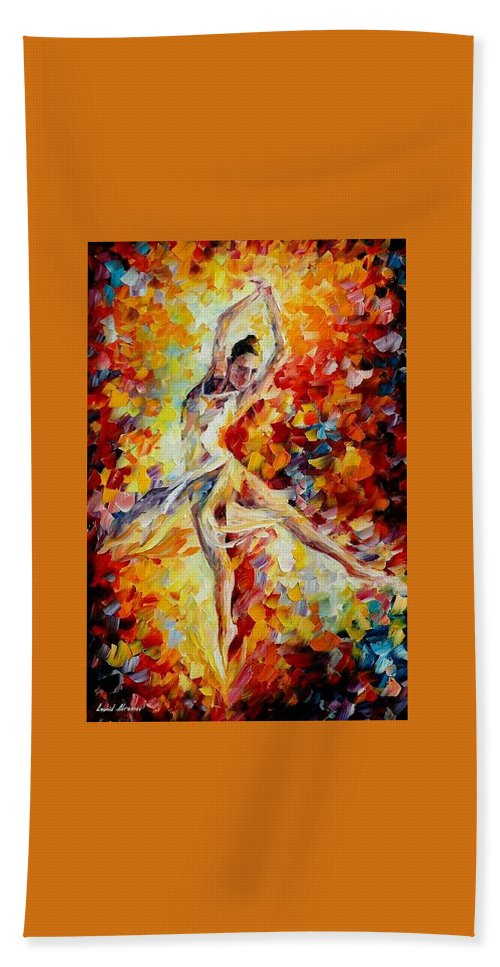 Danse Bath Sheet featuring the painting Candle Fire by Leonid Afremov