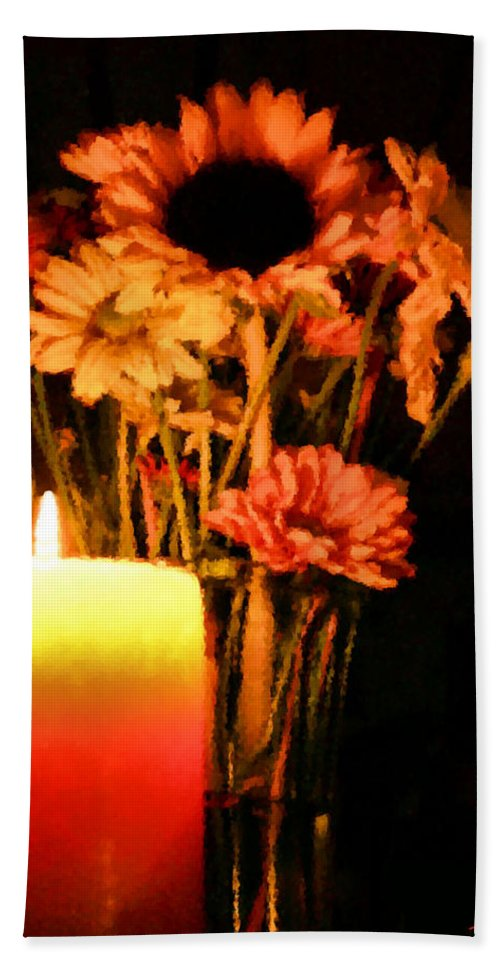 Candle Hand Towel featuring the digital art Candle Lit by Kristin Elmquist