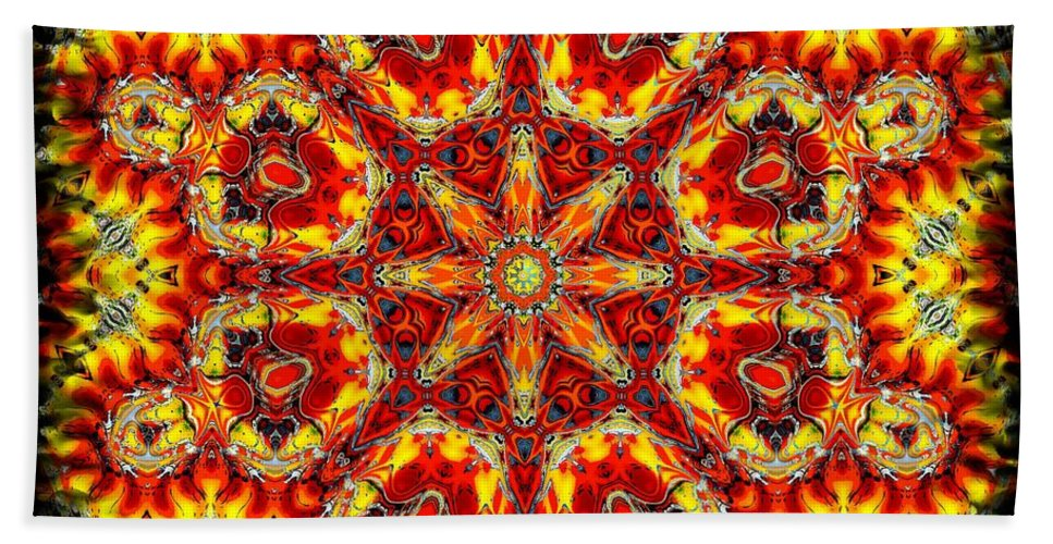 Abstract Hand Towel featuring the digital art Candle Wood by Robert Orinski