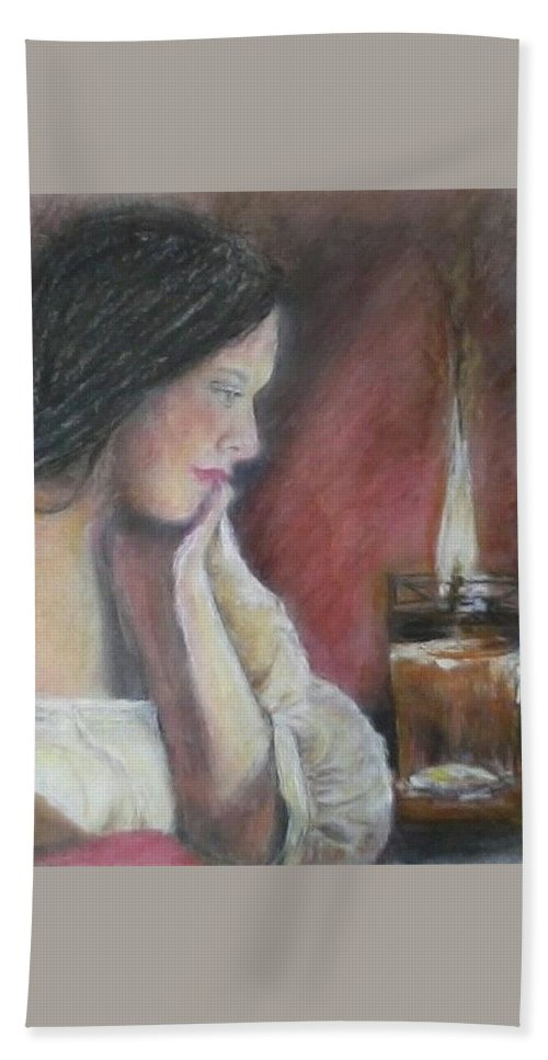 Young Woman Hand Towel featuring the mixed media Candlelight by Shan Ungar