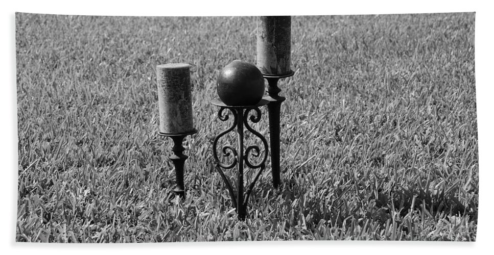 Black And White Bath Sheet featuring the photograph Candles In Grass by Rob Hans