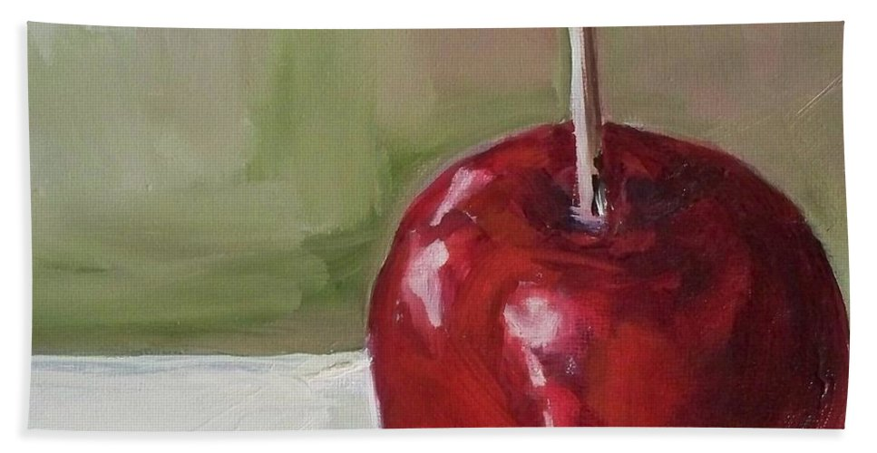 Candy Hand Towel featuring the painting Candy Apple by Kristine Kainer