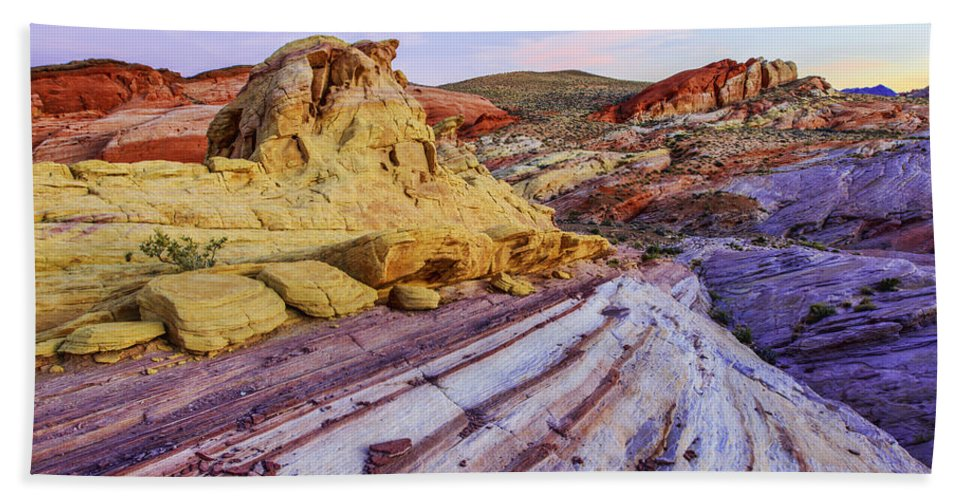 Candy Cane Desert Bath Towel featuring the photograph Candy Cane Desert by Chad Dutson