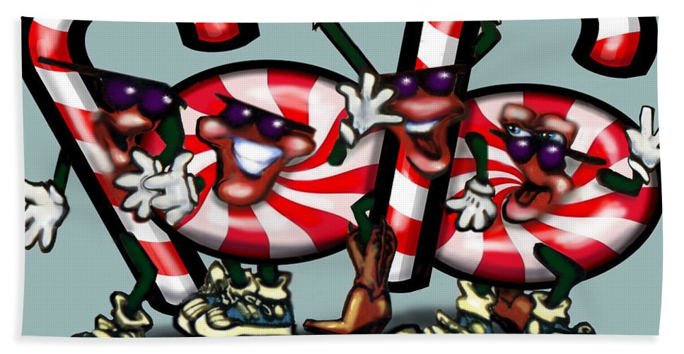 Candy Bath Sheet featuring the digital art Candy Cane Gang by Kevin Middleton