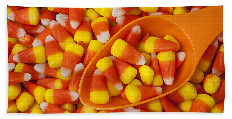 Candy Corn Hand Towel featuring the photograph Candy Corn by Garry Gay