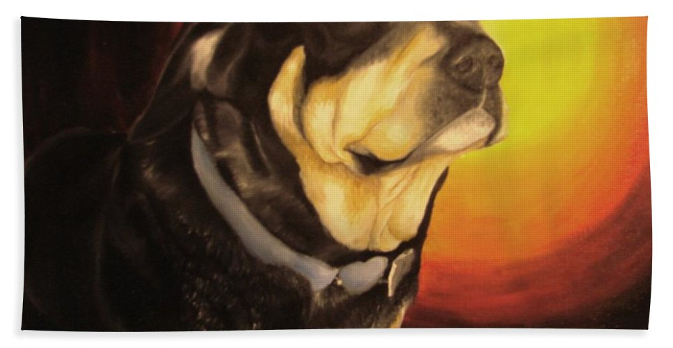 Paintings Bath Towel featuring the painting Canine Vision by Glory Fraulein Wolfe