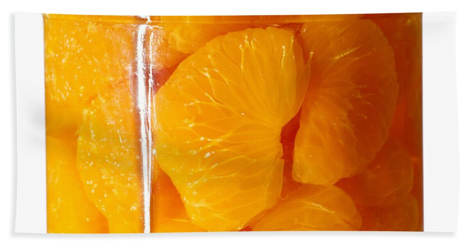 Canned Hand Towel featuring the photograph Canned Mandarin Oranges In Glass Jar by Donald Erickson