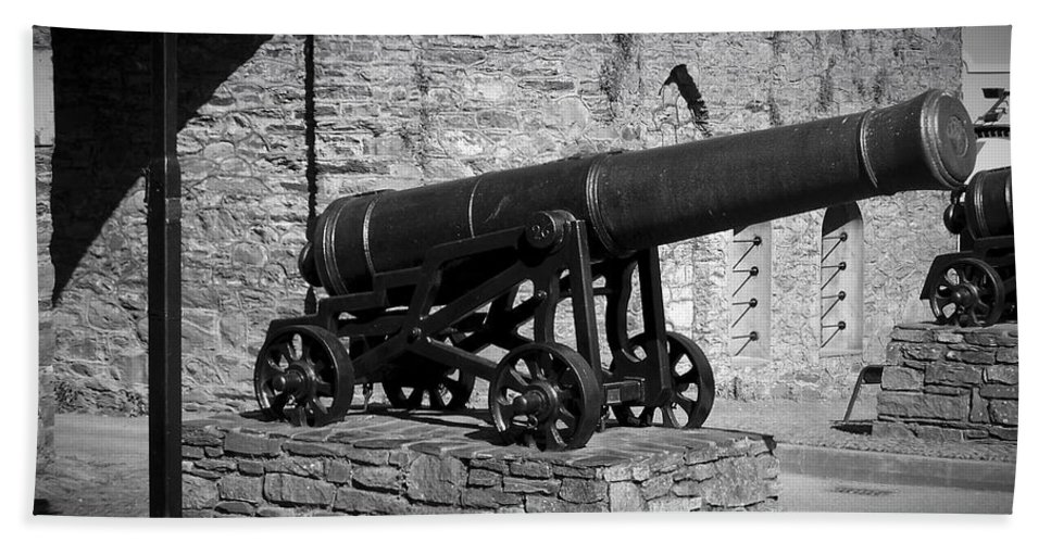 Irish Bath Towel featuring the photograph Cannon At Macroom Castle Ireland by Teresa Mucha