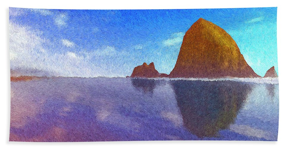 Cannon Beach Bath Sheet featuring the painting Cannon Beach by Dominic Piperata