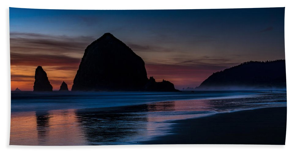 Haystack Rock Bath Sheet featuring the photograph Cannon Beach Evening Beach Serenity by Mike Reid