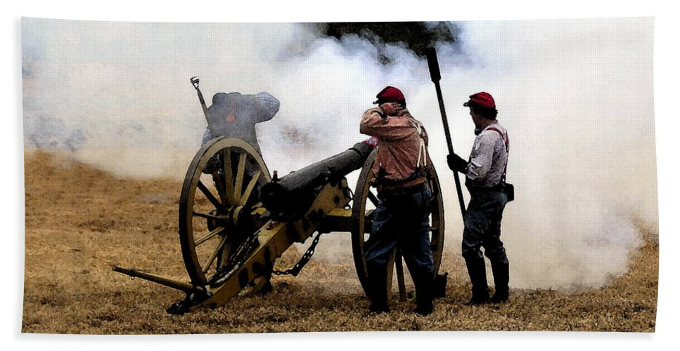 Civil War Bath Sheet featuring the painting Cannon Fire by David Lee Thompson