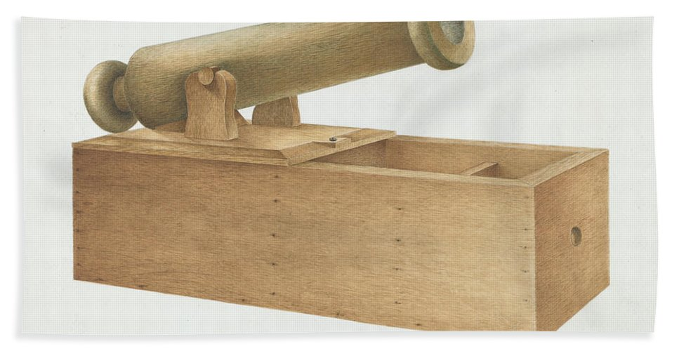 Hand Towel featuring the drawing Cannon-shaped Ballot Box by Joseph Ficcadenti