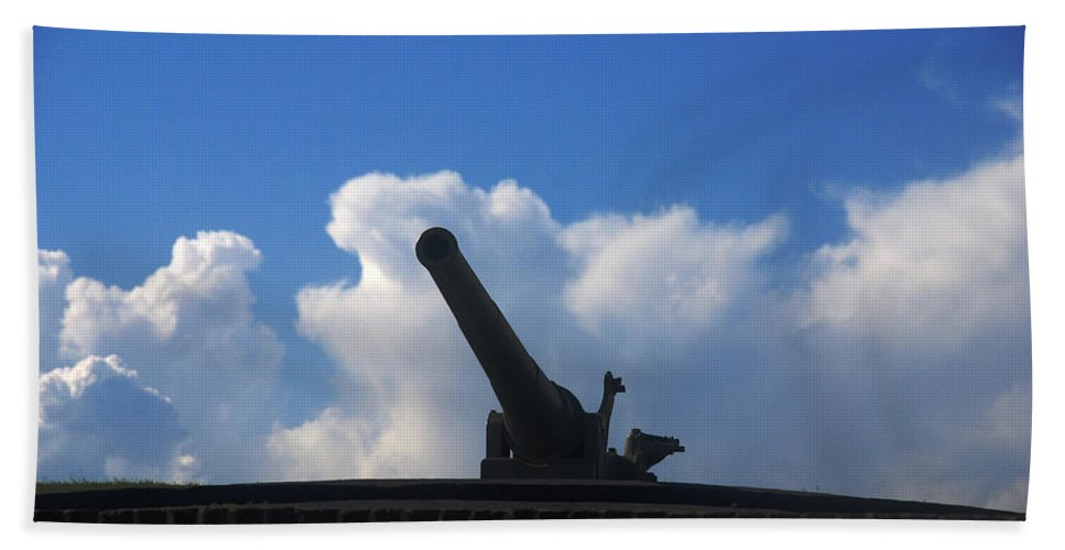 Photography Bath Sheet featuring the photograph Cannons At Fort Moultrie Charleston by Susanne Van Hulst