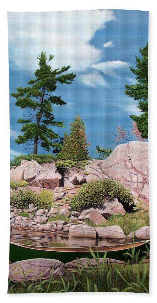 Landscapes Bath Towel featuring the painting Canoe Among The Rocks by Kenneth M Kirsch