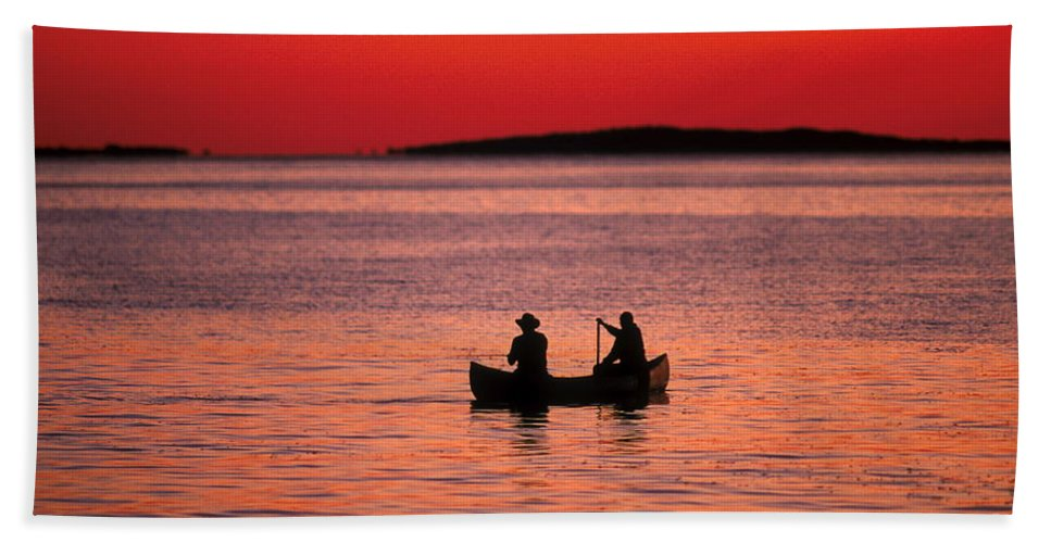 Canoe Bath Sheet featuring the photograph Canoe Fishing by John Greim