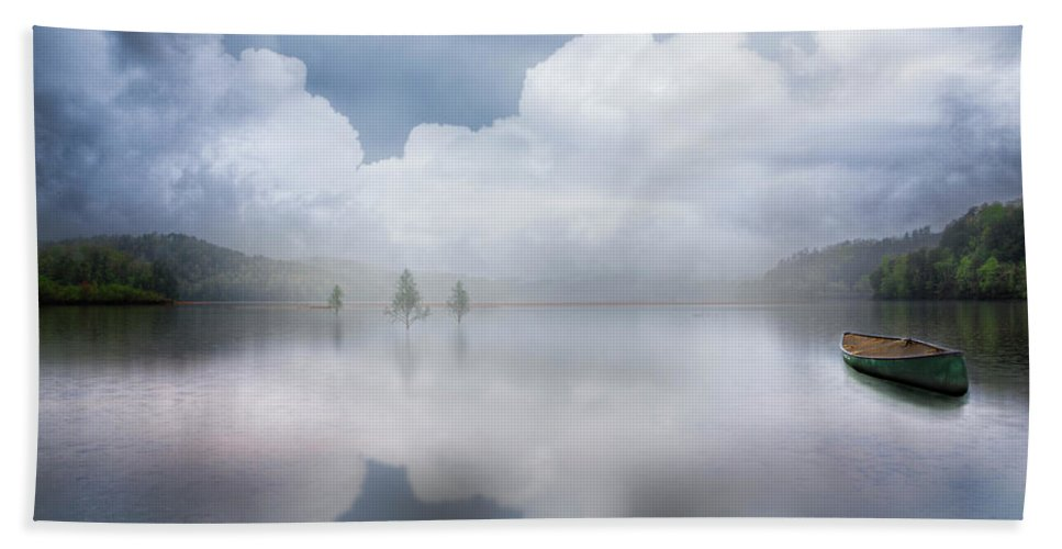 Boats Hand Towel featuring the photograph Canoe In The Clouds by Debra and Dave Vanderlaan