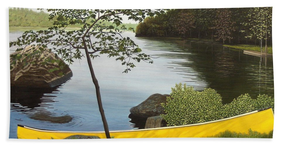 Landscapes Hand Towel featuring the painting Canoe On The Bay by Kenneth M Kirsch