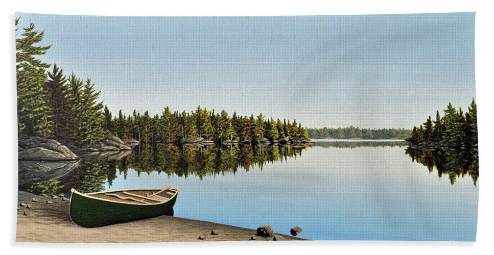 Canoe Hand Towel featuring the painting Canoe The Massassauga by Kenneth M Kirsch