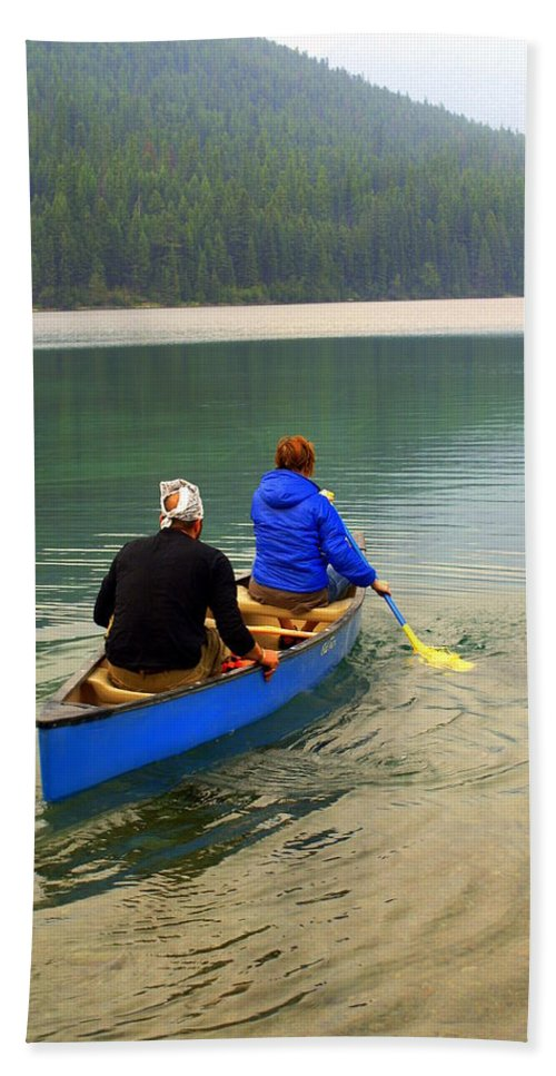 Glacier National Park Bath Sheet featuring the photograph Canoeing Glacier Park by Marty Koch