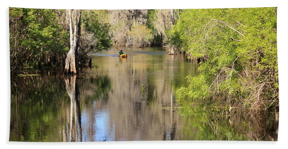 Hillsborough River Bath Sheet featuring the photograph Canoing On Hillsborough River by Carol Groenen