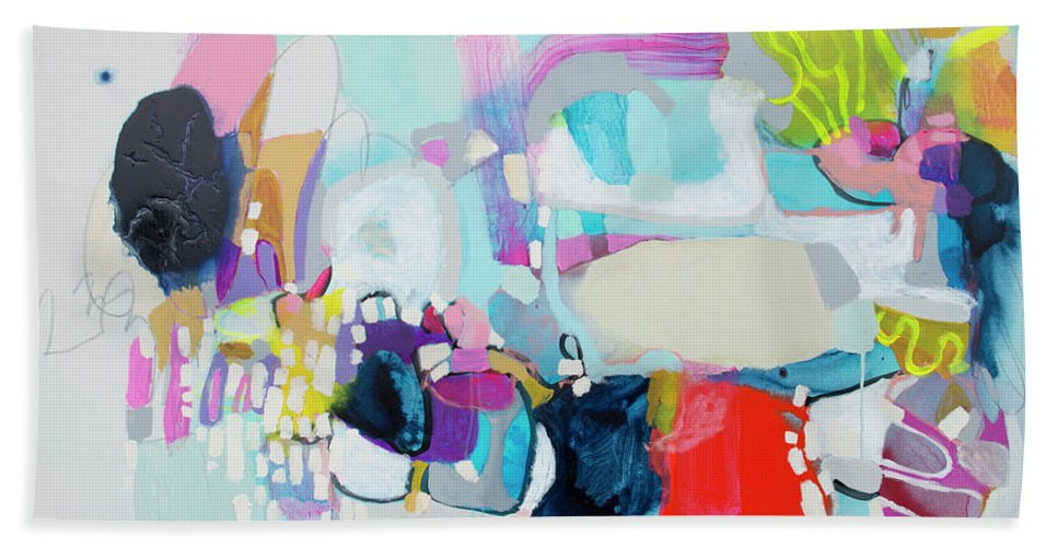 Abstract Bath Towel featuring the painting Can't Wait by Claire Desjardins