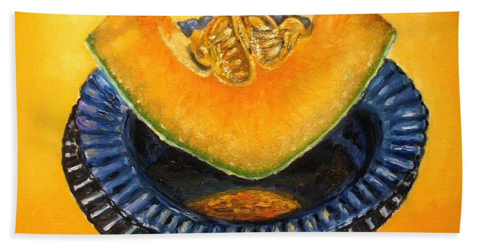 Cantaloupe Bath Towel featuring the painting Cantaloupe Oil Painting by Natalja Picugina