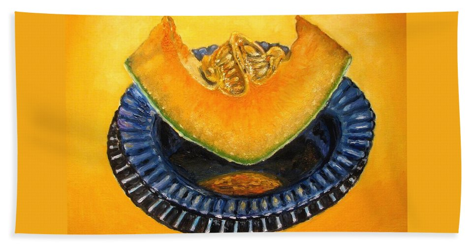 Cantaloupe Hand Towel featuring the painting Cantaloupe Oil Painting by Natalja Picugina